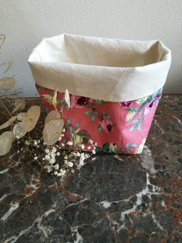 Corbeille tissu rose