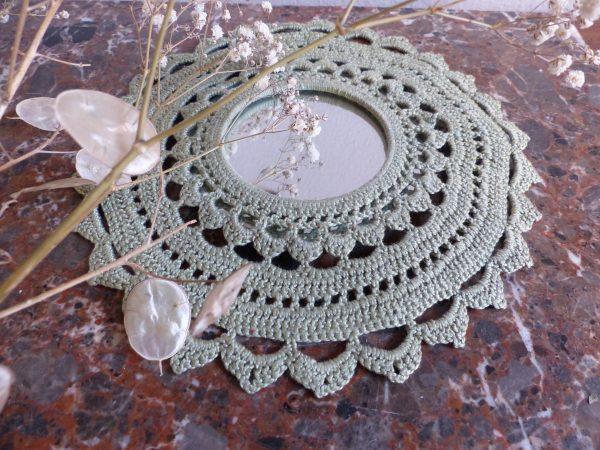 miroir crochet vert