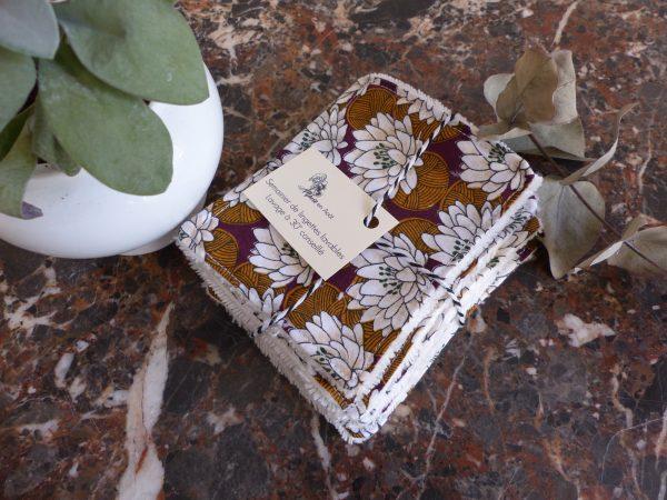 semainier marron fleurs blanches